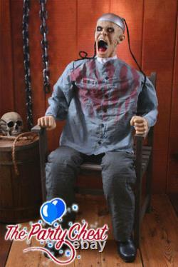 1.8M ANIMATED DEATH ROW PRISONER Lights Sound Halloween Electrocution Prop 6641
