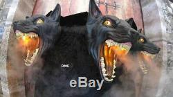 2.5ft 3 Headed Dogs Animated Halloween Cerberus Haunted House Prop