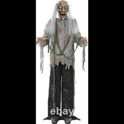 5ft Growling Life Size STANDING ZOMBIE GHOUL Halloween Horror Prop-Light up Eyes