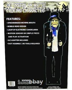 64 inch Butler with Candelabra Halloween Animatronic