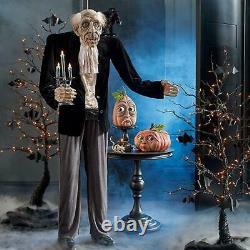 68 ANIMATED TALKING BUTLER WITH RAVEN & CANDELABRA Halloween Prop INTERACTIVE