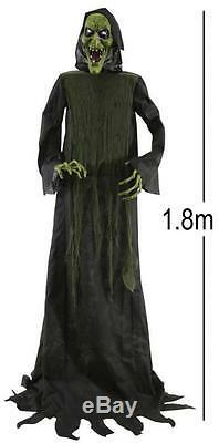6ft Lifesize Animated Swaying Hooded Witch Halloween Party Prop Decoration 6635d