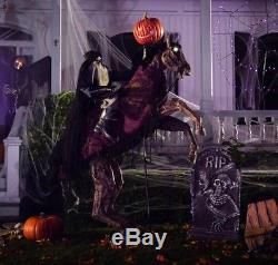 7 FT Animated HEADLESS HORSEMAN ON HORSE Halloween Prop LEGS KICK