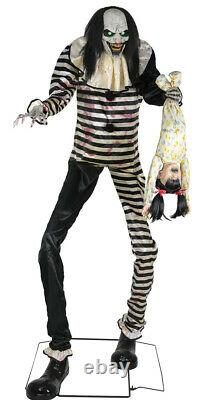 7-Ft Animated SWEET DREAMS CLOWN with KID LED Talking Halloween Prop Decoration