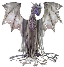 7' Tall Animated Winter Smoke Breathing Dragon Halloween Decoration Prop Décor
