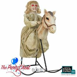 ANIMATED ROCKING HORSE with DOLLY Halloween Horror Prop With Sound Track