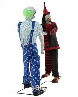 Animated CLOWN TUG OF WAR PROP Halloween Animatronic Lifesize Circus Carnival