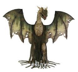 Animated Dragon Prop Winter Forest Green 7' Animatronic Halloween Lifesize