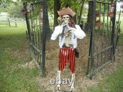Animated Life Size Captain Jack Morgan Pirate Talking Skeleton Halloween Prop