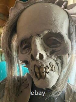 Animated Lullaby Rocking Granny Zombie with Baby Halloween Prop Used 2012