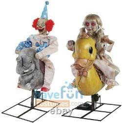 Animated Playground Rocking Elephant Clown & Ducky Doll Halloween Prop