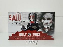 Animatronic SAW Billy On Bike Over 3 FT Tall, Eyes Light Up, Sound, Head Moves