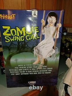 Animatronic Zombie Swing Girl Works Rare Spirit Halloween Prop