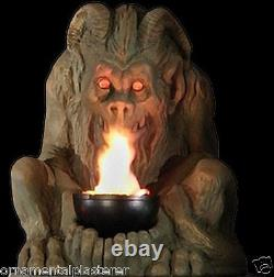 Bronze Gargoyle With Flame Gothic Lighting Statue Decoration & Halloween Prop