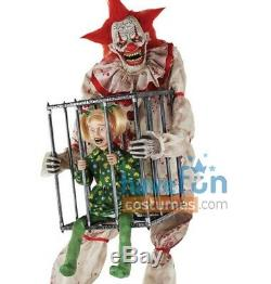 Cagey The Clown Animated Prop with Kid Evil Scary Halloween Animatronic Lifesize
