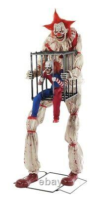 Cagey the Clown Prop with Caged Clown Animated Prop Evil Animatronic Halloween