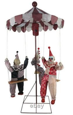 Clown Go-Round Animated Prop Halloween Haunted House Decoration Circus Carnival