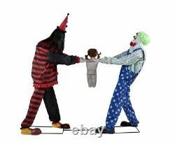 Clowns Tug of War Animated Prop Black/Green Halloween Animatronic Lifesize