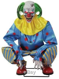 Crouching Clown Blue Animated Prop Circus Carnival Animatronic Halloween