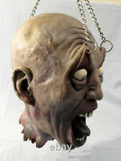 Decapitated Head with Chain Haunted House Halloween Decoration Life Size Prop 2