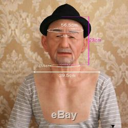 Dokier Realistic Silicone Head Prop Old Man Makeup Cosplay Halloween Disguise