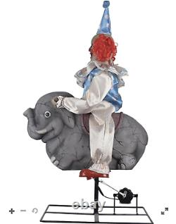 FLASH SALE 3.4 Ft. Rocking Elephant Clown Animatronic Decorations New