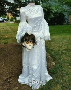 GEMMY Halloween BEHEADED BRIDE Life Size Prop Animated ANIMATRONIC See Video