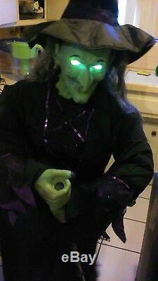 GEMMY STANDING LIFESIZE ANIMATRONIC WITCH with BROOM. Retired Halloween prop