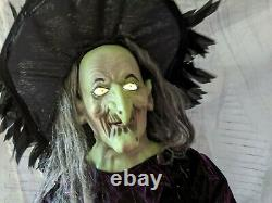 Gemmy Halloween as is cauldron life-size witch prop animatronic decor haunted