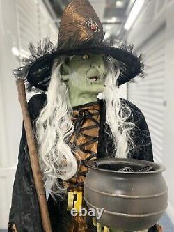Gemmy Life Size Animated Halloween Spirit Animatronic RARE Cauldron Witch Prop