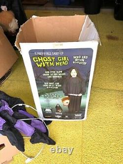 Ghost Girl With Head Life Size Donna The Dead Animated Halloween Prop Gemmy