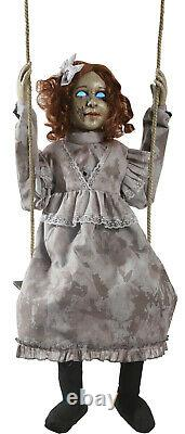 HALLOWEEN ANIMATED SWINGING Decrepit Doll PROP DECORATION HAUNTED HOUSE cemetary