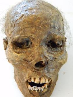 HALLOWEEN HORROR MOVIE PROP Realistic Resin Human Corpse Head Mummified Mark