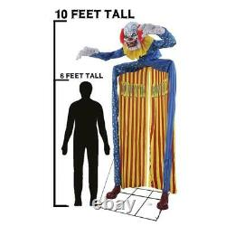 Halloween Animated 10' LOOMING CLOWN LifeSize Haunted House Outdoor Prop Archway