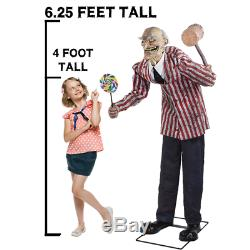 Halloween Animated 6 Ft CANDY CREEP Haunted Prop Life Size Circus Clown Outdoor