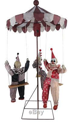 Halloween Animated CREEPY CLOWN DOLLS GO-ROUND Prop Haunted House Pre-Order NEW