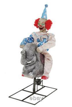Halloween Animated Rocking Elephant Clown Doll Life Size Haunted Prop Spirit