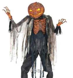Halloween Animated Scorched Pumpkin Scarecrow Animated Life Size Prop