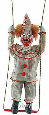 Halloween Animated Swinging Evil Clown Prop Decoration Haunted House Cemetary