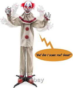 Halloween Animatronic Clown life Size Props Scary Decorations Motion Light NEW