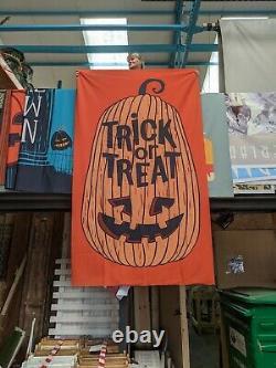 Halloween Banner pumpkin backdrop party decoration poster trick treat Prop HW