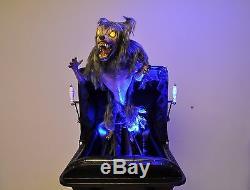 halloween haunted house victorian baby carriage werewolf leaper prop