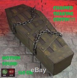 Halloween LIFESIZE 5.3Ft Chained Shaking Coffin prop Noise & Motion Activated