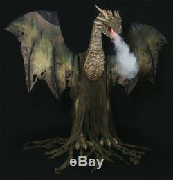 Halloween Life Size Animated 7 Ft Green Winter Forest Dragon Prop