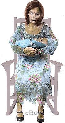 Halloween Life Size Animated Rocking Moldy Mommy Prop Decoration Haunted House