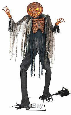 Halloween Life Size Animated Scorched Scarecrow Pumpkin Fog Machine Prop Decor