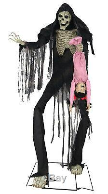 Halloween Life Size Animated Towering Boogey Man With Kid Prop Decoration