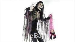 Halloween Life Size Animated Towering Boogey Man w Kid Prop Haunted Decor Spirit