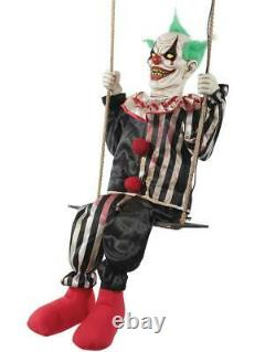 Halloween Life Size Swinging Chuckles Clown Animated Prop Haunted Decor Outdoor