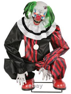 Halloween Lifesize Animated Crouching Red Clown Prop Decoration Haunted House